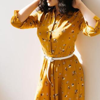 Платье из  штапеля в цветочек Горчичное