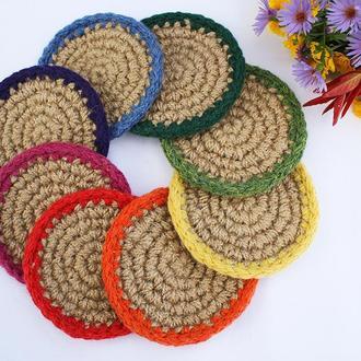 Еко кружечки під чашки (12cм), Міні килимки з джуту круглі, Эко подставки под чашки