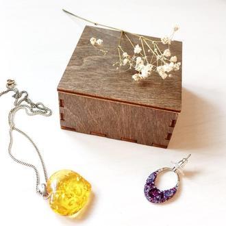 Маленькая деревянная коробочка с крышкой для упаковки подарков, бижутерии