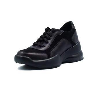 Черные кроссовки из натуральной кожи и замши
