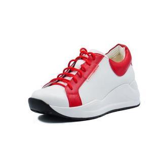 Белые высокие кроссовки из натуральной кожи