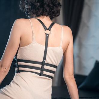 Классическая портупея, женская портупея на грудь, портупея кожа, БДСМ портупея, эротическое белье