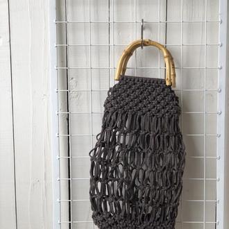 Сумка плетеная на бамбуковых ручках Шоколад