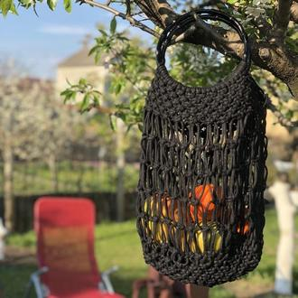 Сумка плетеная авоська Черная