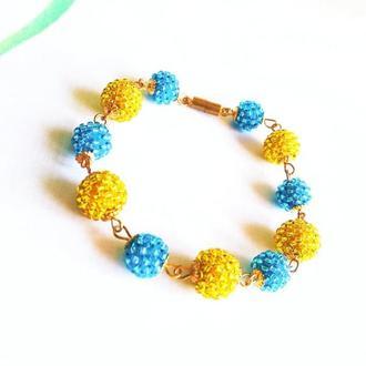 Желто-голубой браслет из бисера Браслет на подарок девушке