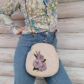 Валяная сумка, сумочка с фермуаром из шерсти
