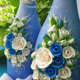 Свадебное шампанское в синих тонах