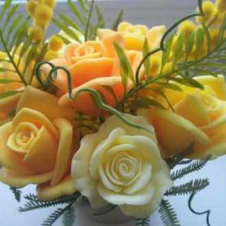 """Букет цветов из мыла """"Желтые розы"""""""