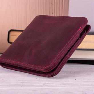 Стильный маленький бумажник из натуральной кожи бордовый