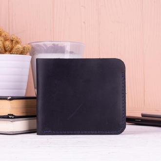 Стильный маленький бумажник из натуральной кожи синий