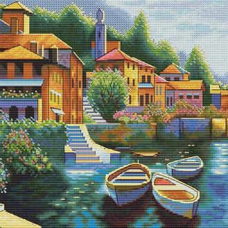 Схема для вышивки крестом «Озеро Комо. Италия»