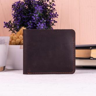 Стильный маленький бумажник из натуральной кожи коричневый