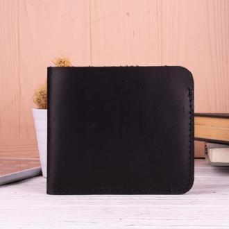 Стильный маленький бумажник из натуральной кожи черный