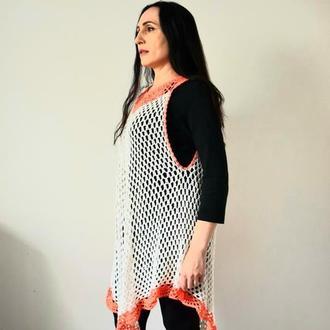 Платье вязаное сеточка Туника платье Платье молочного цвета с оранжевым кружевом