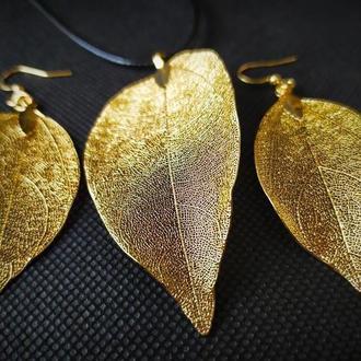 Комплект (набор), кулон и серьги из настоящих листьев, N-1