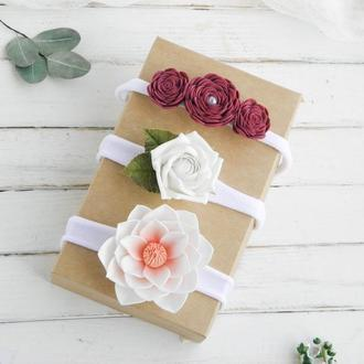 Набор детских повязок с цветами / Летние повязки для малышки / Пов'язки для дівчинки