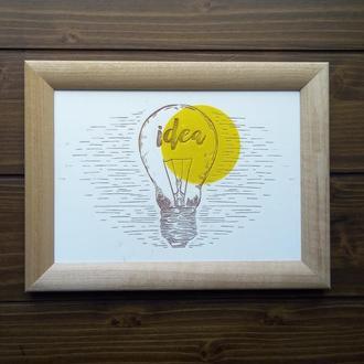 "Картина ""Idea"", гравировка по дереву"