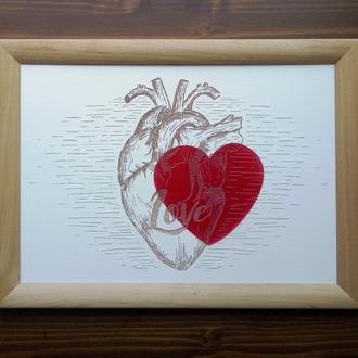 "Картина ""Love"", гравировка по дереву"