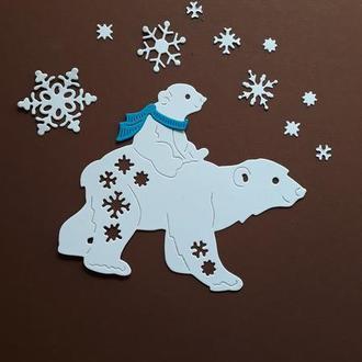 Бумажная вырубка Белый медведь и снежинки, Фигурная вырубка