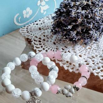 Набор браслетов из натуральных камней, браслет из розового кварца,кахолонга, горного хрусталя, сет