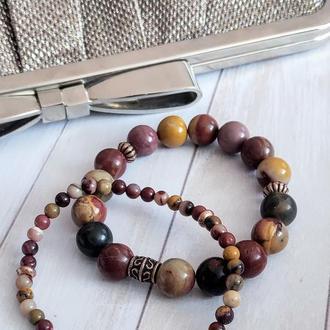Набор браслетов из натуральных камней, браслет из яшмы, браслет на подарок