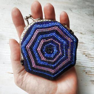 Вязаная монетница из бисера Кошелек для мелочи Футляр для наушников