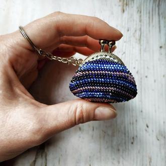 Вязаня монетница брелок из бисера Маленький кошелек для монет