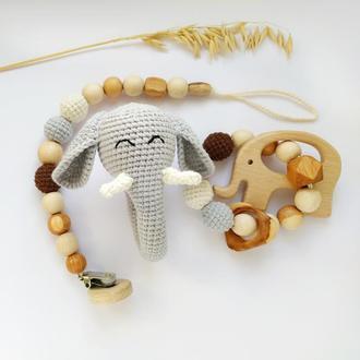 Подарочный набор для малыша, погремушка- слон, колечко -прорезыватель, держатель для пустышки