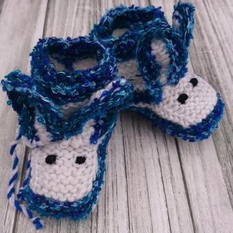 Вязаные пинетки Зайчики - детские вязанные носки