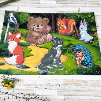 Игра « Лесные – Животные»  Развивающая игра на липучках.