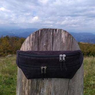 Сумка бананка, сумка через плече, поясная сумка, чёрная сумка,