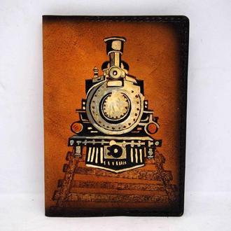 Кожаная обложка для паспорта с поездом, паспорт для путешествий, кожаный паспорт с рисунком