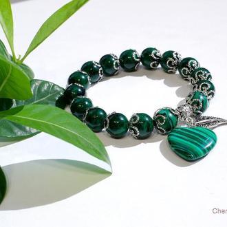 Малахитовый браслет, Браслет с подвеской, Зеленый браслет