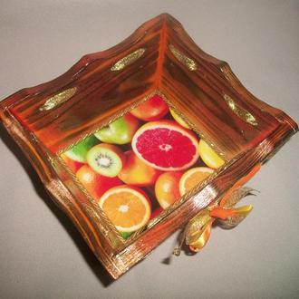 """Деревянная конфетница  оранжевого цвета в технике декупаж """"Цитрус"""""""