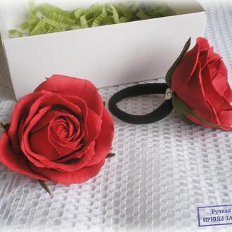 Резинка с красной розой 6-7 см (1 шт)