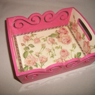 """Деревянная фигурная конфетница """"Rose flower"""""""
