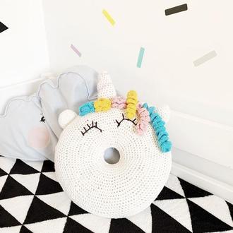 "Декоративная подушка ""Единорог в форме пончик"" donut unicorn"
