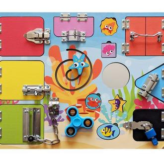 Бизиборд для девочки или мальчика Развивающая доска для малыша с алфавитом. Бізіборд Під водою