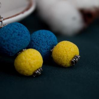 Серьги в соляной технике, сине-желтые