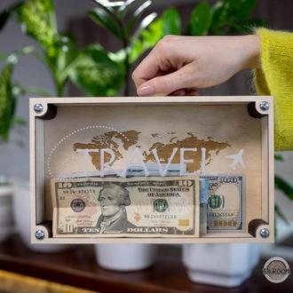 Копилка с прозрачной акриловой крышкой, шкатулка для денег