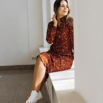 Платье из штапеля в цветочек Терракот