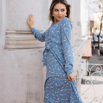 Платье из штапеля (хлопок)  в цветочек Голубое