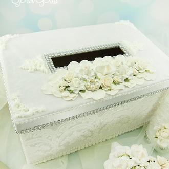 Сундук для денег белый / Скриня для грошей біла / Коробка весільна білосніжна