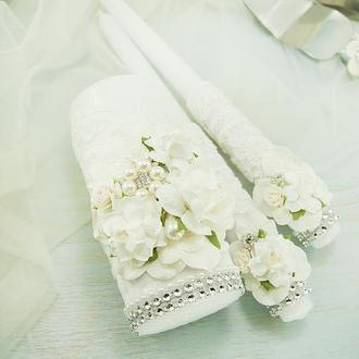 Белые свечи для свадьбы / Венчальные свечи / Свечи для свадьбы / Свечи белые / Венчальные свечи белые