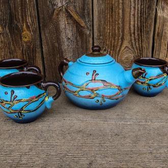 Чайный набор на 3 человека 0,6 л. Шарик декор Кромка голубой
