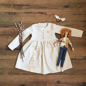 Льняное платье для девочек, под заказ, размеры от 1 годика. Большой выбор оттенков льна