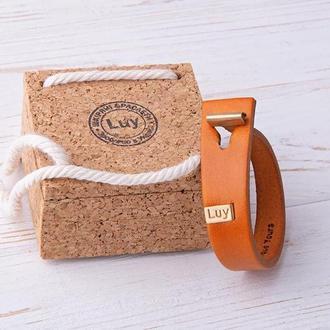 Кожаный браслет LUY N.3 один оборот (оранжевый)