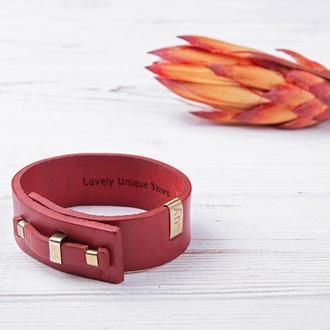 Кожаный браслет LUY N. 1 один оборот (красный). Браслет из натуральной кожи