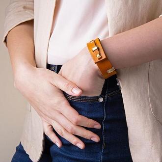 Кожаный браслет LUY N. 1 один оборот (желтый). Браслет из натуральной кожи