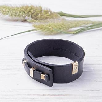 Кожаный браслет LUY N. 1 один оборот (черный). Браслет из натуральной кожи